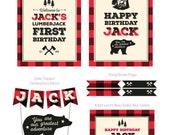Lumberjack Birthday, Lumberjack Party, Lumberjack Theme Party Kit, First Birthday Theme