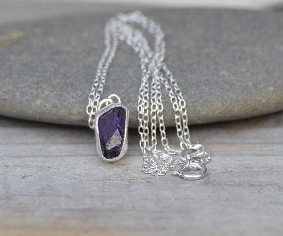 raw amethyst necklace in Indigo, February birthstone, uncut raw amyethyst necklace, amethyst gift