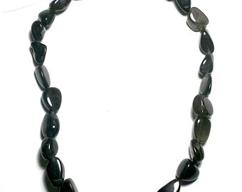 Black tiger eye nuggets 15mm to 10mm long drilled 17 inch strand