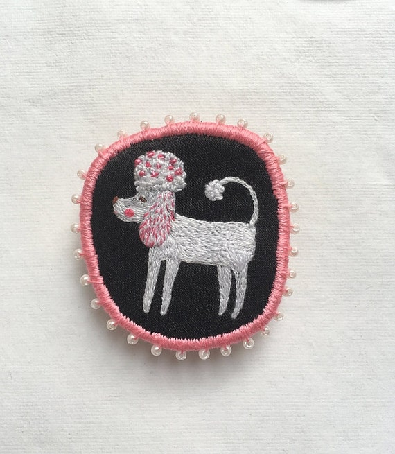 Textile Pet Portrait Brooch - The Spring Poodle - Pink. Funny Dogs - collection, hand embroidered textile dog jewelry