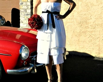 Retro Wedding Dress-Tea Length Wedding Dress-Short Wedding Dress-Tea Length Dress-Coco Style Layered-Ruffled Taffeta Wrap with Tie Sash