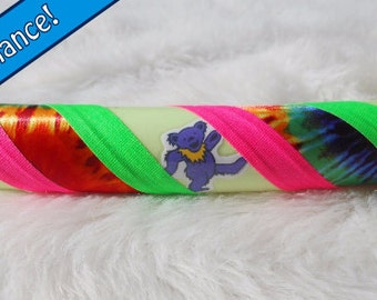 The 'GrAteFuLLy DeADiCaTeD GLoW' - GLOW In The DARK Decal Hula Hoop - Choose Any Dead Decals & Any Grip Tape Colors.