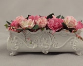 Dollhouse Miniature Shabby Chic Window Box Planter with Flowers