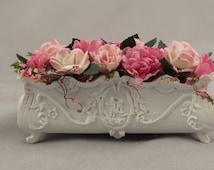 Dollhouse Miniature Shabby Chic Window Box Planter with Flowers