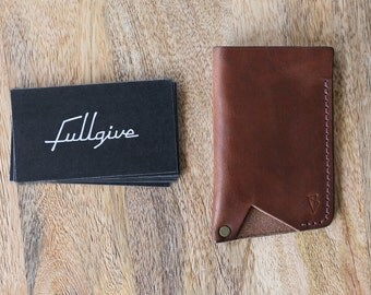 """Leather Business Card Wallet // """"Card Holder"""" by fullgive in brown"""