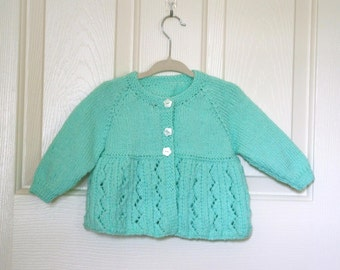 Hand Knitted - Mint Green Lacy Baby Matinee Cardigan/Sweater