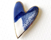 Ceramic Heart Brooch. Cobalt Blue & White. Sapphire Blue. Navy. Royal Blue. Clay. Large Pin. Stripes. Porcelain. 22K Gold Edge. Statement