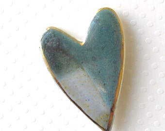 Ceramic Heart Brooch. Jade Green. Blue-Green. Turquoise. Porcelain Clay. Blue-Gray. Sage Green. Teal Green. Earth Tone. Large Pin. 22K Gold