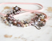 Convertible Necklace, Pastel Pink Necklace, Pearl Jewellery, Copper Wire Jewelry, Convertible Bracelet, Hand Forged Chain, Bohemian Jewelry