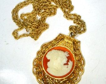 Gold Double Classic CAMEO Medallion Pendant on Gold Chain Necklace, 1970s Sample