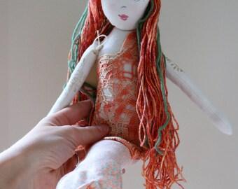 Peachy Keen Mermaid - Handmade Heirloom Cloth by the Evergreen Doll Company