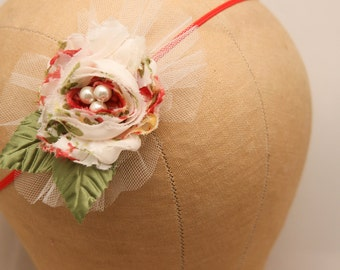 Baby Flower Headband in Red and Ivory with Netting, Elastic Stretch Baby Headband, Flower Girl Headband, Photo Prop Hair Accessory