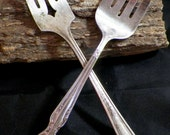 Antique/Vintage Silverplate Serving Forks - 1930s Niagara Glendale & Rogers Extra Plate Dining Flatware