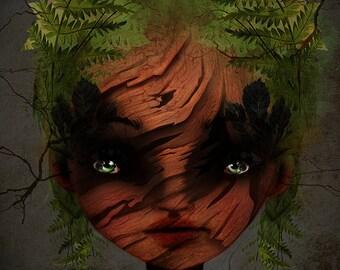 "Fine Art Print - ""Wood Nymph"" -  11x17 / 13x19 Premium Giclee Print of Original Artwork - Jessica von Braun"