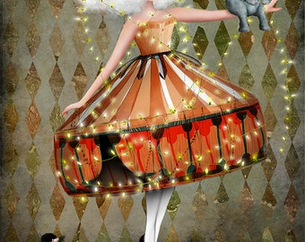 "Fine Art Print ""Carnivàle""  Medium Size 8.5x11 or 8x10  Digital Collage of Lowbrow Art Circus Performer Girl Circus Animal"