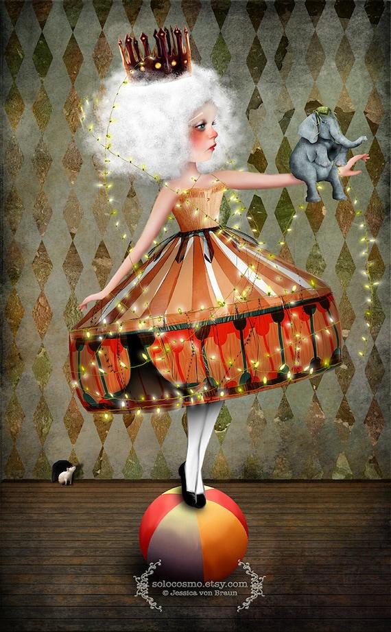 "Fine Art Print ""Carnivàle""  Medium Size 8.5x11 or 8x10  Digital Collage of Lowbrow Art Circus Performer Girl Circus Animal"