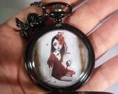 Upcycled Pocket Watch - Locket - Necklace - Wearable Art - Porcelain -SALE