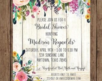 Custom Printed Floral Watercolor Bridal Shower Invitations - Watercolor Floral Invitation - 1.00 each with envelope