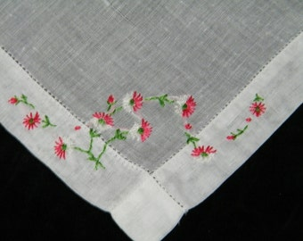 Vintage 1940's Hand Embroidered Pink & White Floral Wedding Handkerchief, Hankie, Hanky, Pocket Square, 9769