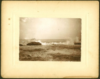 Ocean Surf & Ferry Boat - Antique Cabinet Photo