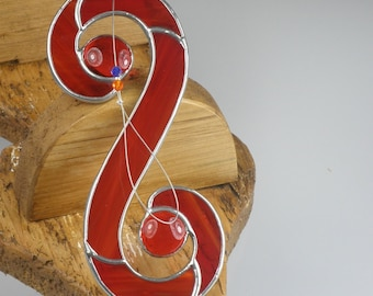 Red Stained glass Celtic Double Spiral Suncatcher  & Window Ornament