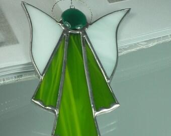 Moss green Stained glass Guardian angel Suncatcher Window ornament & Christmas decoration