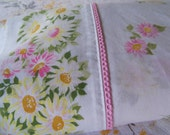 Moving Sale!  Vintage Pequot Pink Daisy Twin Flat Sheet with Picot Edging Cotton Muslin Blend
