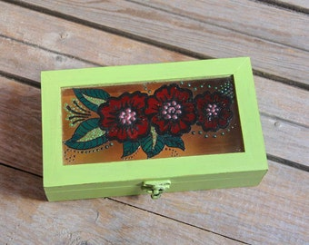 Decorative Wood Box, Jewelry Box, Pen Storage Box