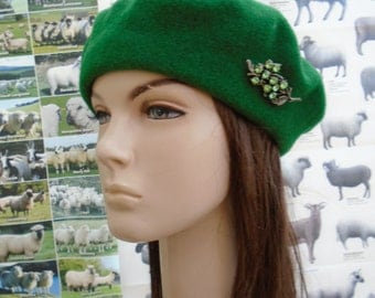 upcycled GREEN GLASS BEADS wool beret tam vintage brooch an irish granny original