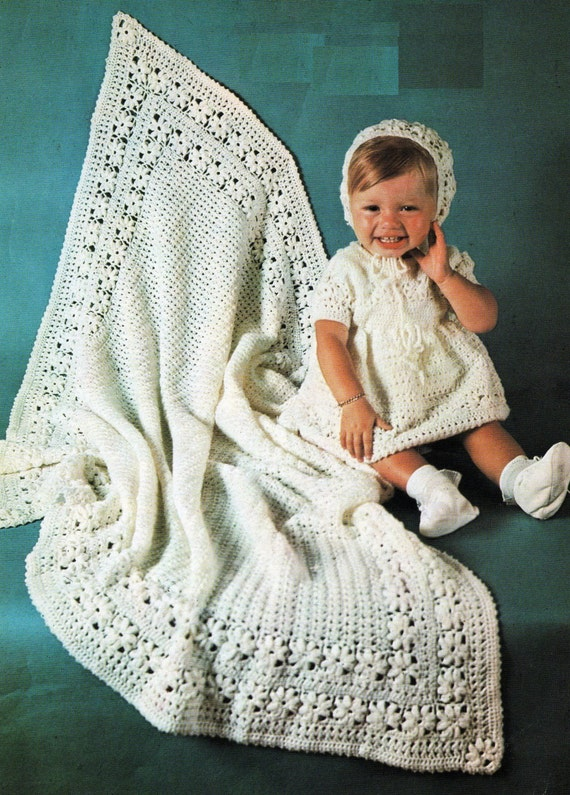 Crochet Baby Dress And Bonnet Pattern : PDF Baby Crochet Pattern / Shawl Dress Bonnet / Christening