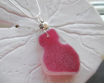 Pink Sea Glass Necklace English Beach Sea Glass Jewelry Sterling Pendant RARE