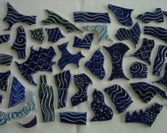C37 - HUGE BLUES Set Grafitti Tiles - Ceramic Mosaic Tiles