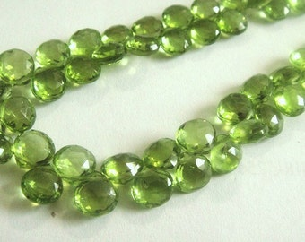 PERIDOT Heart Briolettes,  Faceted Brios, 5 FOCAL BEADS for Pendants, August Birthstone,  Brides, Wholesale Beads,  6.5-7.5mm,