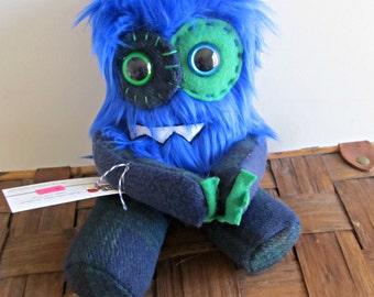 Plush Monster Mini in Blue Faux Fur and Plaid Print Handmade Plushie Stuffed Toy