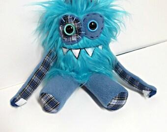 Monster Plush - Handemade Plush Monster - Teal Faux Fur - Plush Monster Plaid - Mini Monster Toy - OOAK Stuffed Monster - Handmade Softie