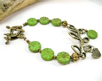 Branch Bracelet, Bronze and Green Bracelet, Branch with a Bird Bracelet, Hummingbird Charm, Czech Glas Beads, Single Strand Bracelet, Gift