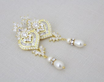 Crystal bridal earrings, Gold Wedding earrings, Bridal jewelry, Art Deco earrings, Pearl earrings, Long earrings, CZ earrings, Gold EMMA
