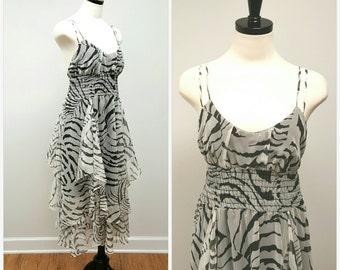 Vintage Sundress, Zebra Print Summer Flutter Dress, 70s Chiffon Disco Sundress, Black White Zebra Print Petal Skirt Dress  Size M