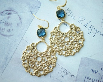 Big Gold Lace Earrings, Dark Blue Glass Big Filigree Earrings, Indian Boho Wedding, Large Moroccan Earring, Bridesmaid Gift, Modern Earrings