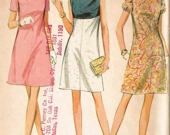 High Waisted Dress Empire Waist Sleeveless or Short Puff Sleeve Jewel Neckline McCalls 9320 Sewing Pattern Size 10 Bust 31.5 Vintage 60s