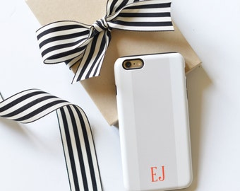 Monogrammed iPhone 6s / iPhone 6 Case - Rugby Stripe
