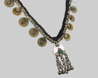 Kuchi Necklace, Afghan Jewelry, Coin Bells, Vintage Necklace, Gypsy Jewelry, Banjar, Turkomen, Boho Statement, Bohemian, Ethnic Tribal