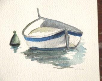 boat watercolor mini painting summer
