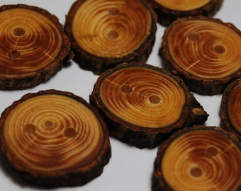 Handmade Spruce Tree Branch Wood Buttons, 7/8 Inch (22 mm), Set of 8