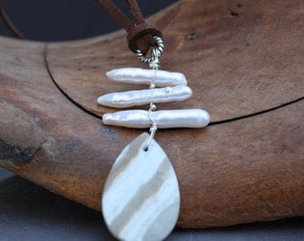 Pearl Sticks and Hemimorphite Necklace, Long Leather Necklace, Gemstone Necklace