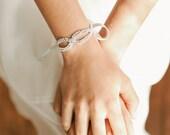 Crystal bridal bracelet, silver crystal cuff, bridal bracelet, bridal cuff,  wedding wristlet, bridesmaid bracelet- style 404