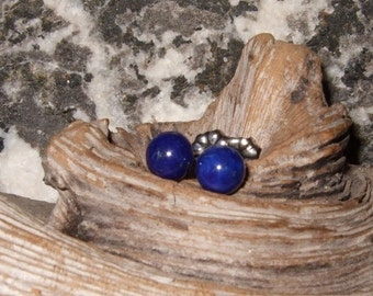 Longer Posts 6mm Rich Deep Blue Lapis Lazuli Titanium Ear Posts Clutches Studs Earrings Earings Mystery Hypo Allergenic