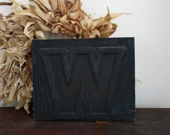 vintage hand carved wood Typography Letter W wall hanging