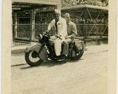 1940s Sailor and GI on MOTORCYCLE - snapshot 801-A