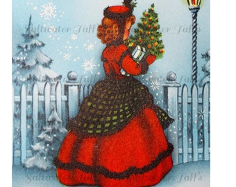 Pretty Girl with Christmas Tree Card Image Digital Download vintage transfer card holiday xmas christmas card vintage 1950s red dress light